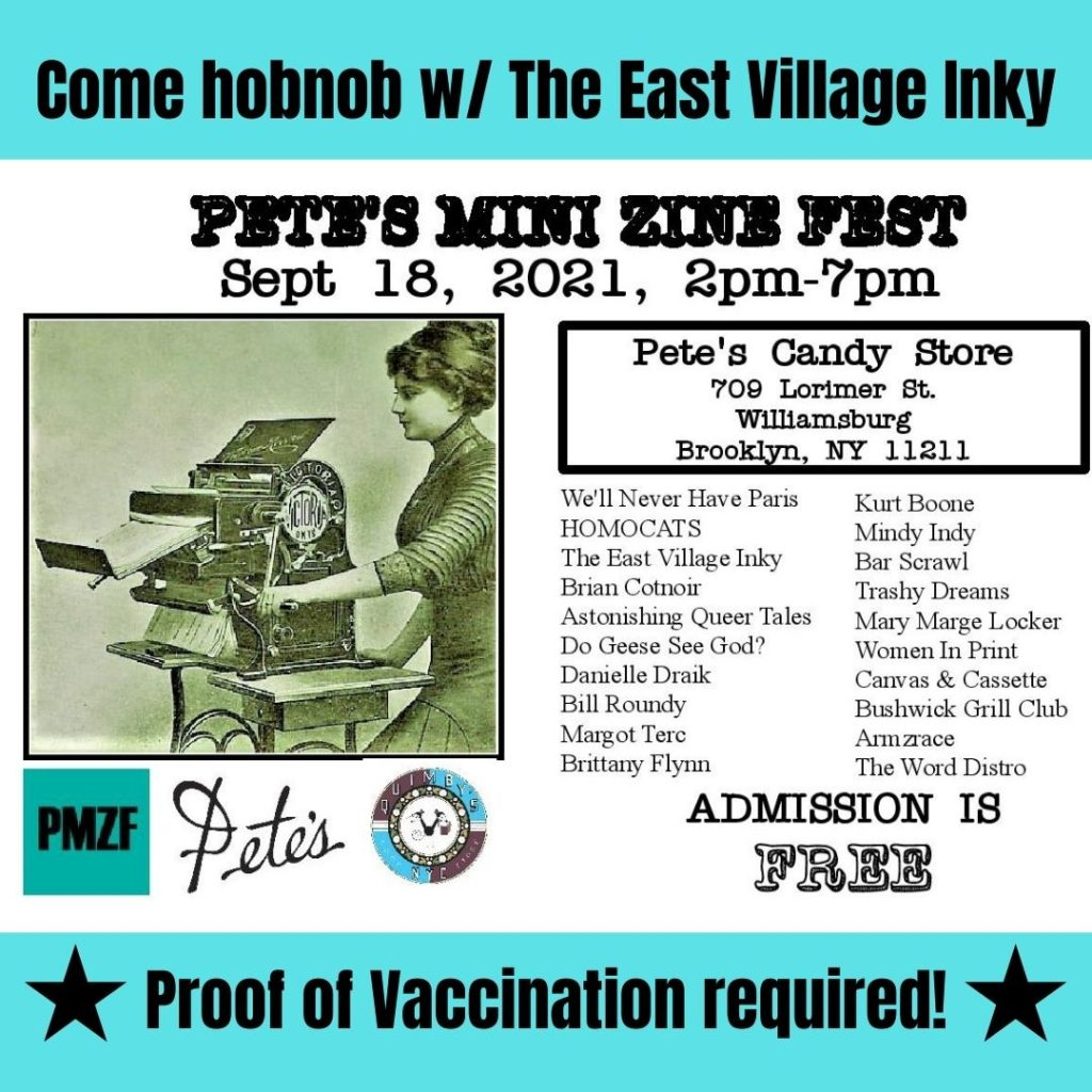 Flyer listing the 2001 participants for the annual Pete's Mini Zine Fest  September 18, 2pm-7pm at Pete's Candy Store in Brooklyn New York